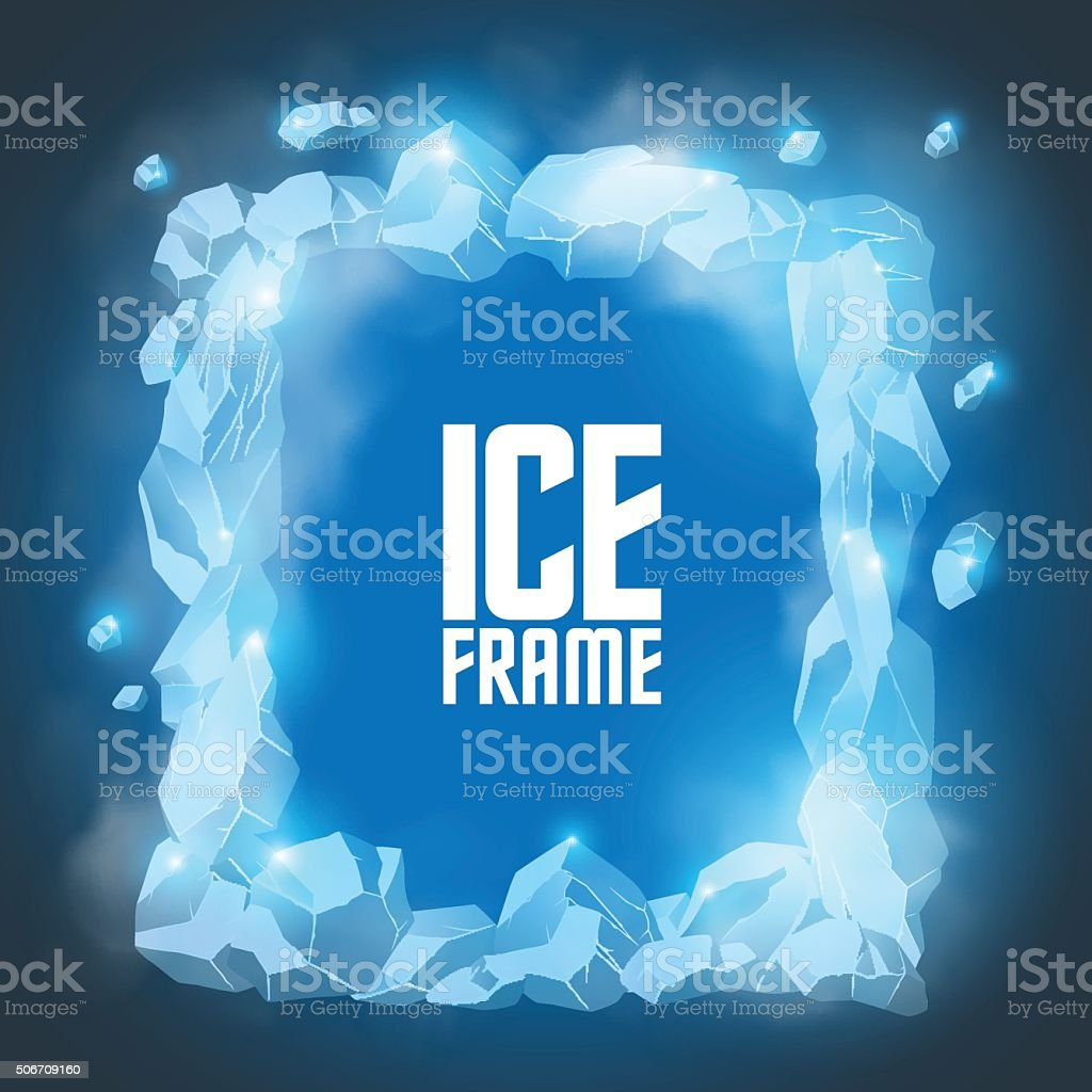 Ice frame vector art illustration
