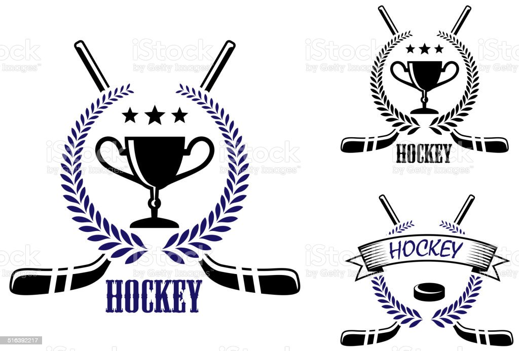Ice Hockey And Winter Sports Symbols Stock Vector Art More Images