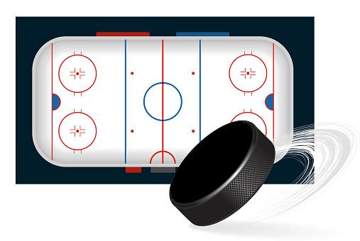 Ice hockey arena, ice hockey field with puck. Vector illustration