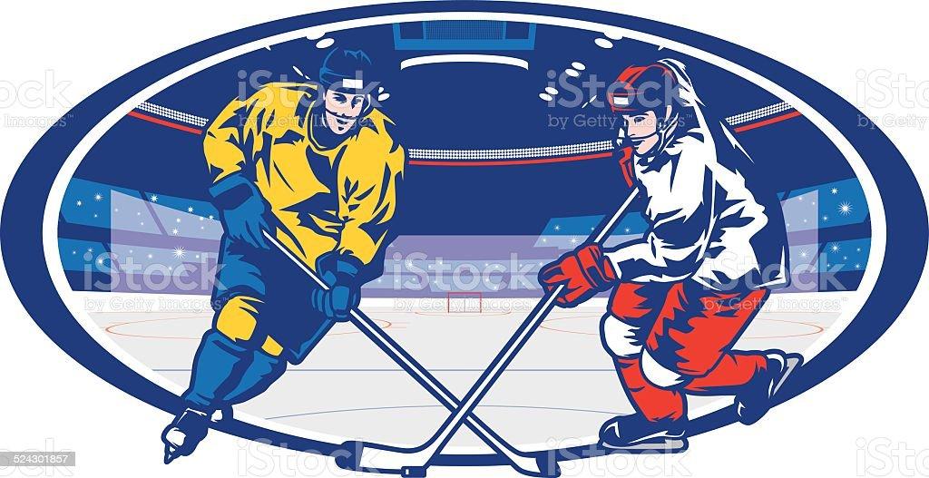 Ice Hockey Arena Matchup vector art illustration