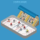 Ice hockey arena stadium competition match play. Sport modern lifestyle flat 3d web isometric infographic vector. Young joyful people team sports championship. Creative sportsmen people collection.