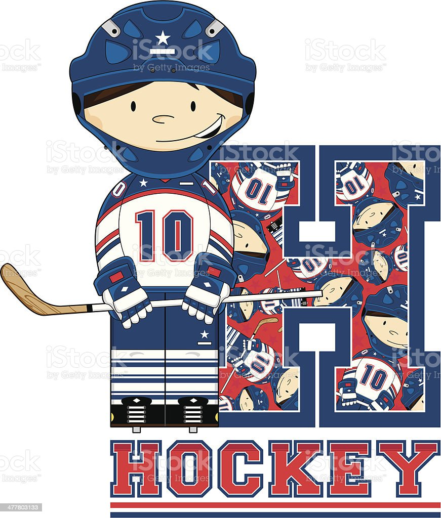 Ice Hockey Boy Learning Letter H royalty-free ice hockey boy learning letter h stock vector art & more images of alphabet
