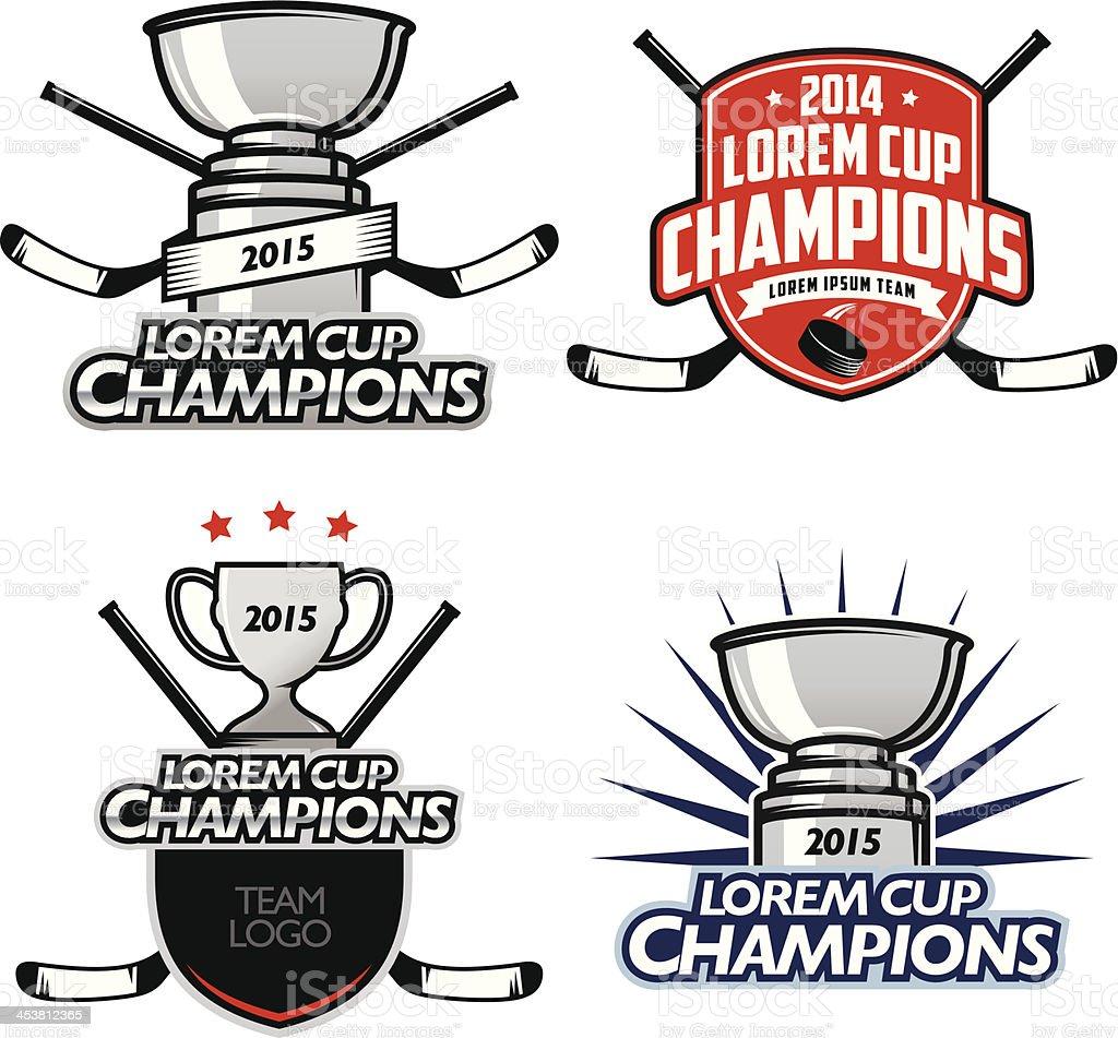 Ice hockey cup champions Etiketten, Abzeichen und design-Elemente – Vektorgrafik