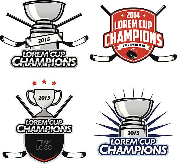 ilustrações, clipart, desenhos animados e ícones de hockey campeões da copa etiquetas, emblemas e elementos de design - hóquei