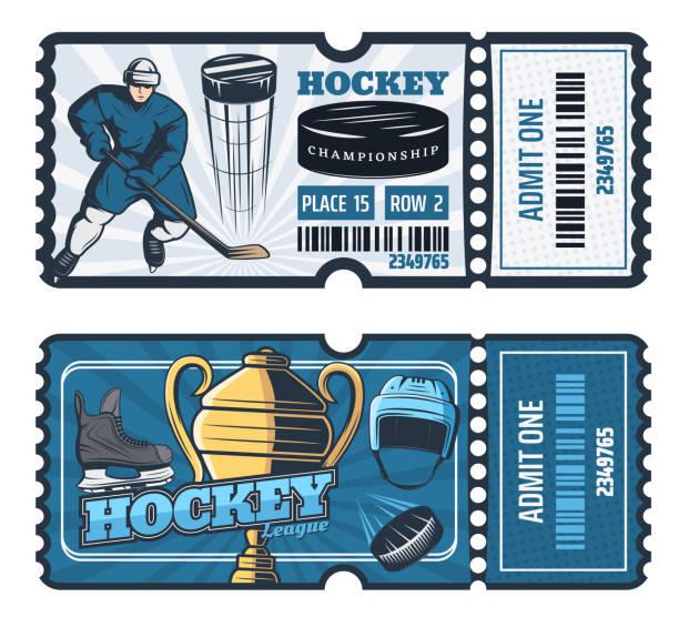 illustrations, cliparts, dessins animés et icônes de billets de hockey sur glace coupe du jeu, vector - hockey