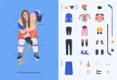 Ice hockey equipment guide for adult female player. Isolated flat vector illustration.  Infographic with woman in uniform and hockey necessary equipment such as under armour clothes, armour, helmet, accesorries, stick, puck