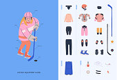 Ice hockey equipment guide for young female beginner player. Isolated flat vector illustration  with girl and  hockey necessary equipment such as under armour clothes, armour, helmet, accesorries, stick, puck