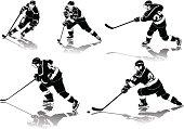 ice hockey figures in black uniform with shadows