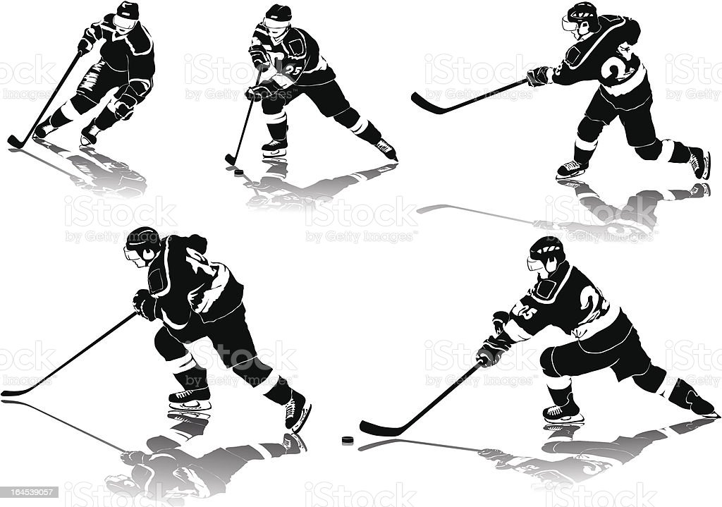 ice hockey figures in black uniform with shadows vector art illustration