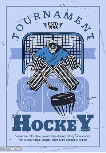 istock Ice hockey goalie in gates 1047437492