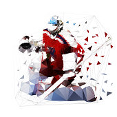 Ice hockey goalie in red jersey, isolated low polygonal vector illustration