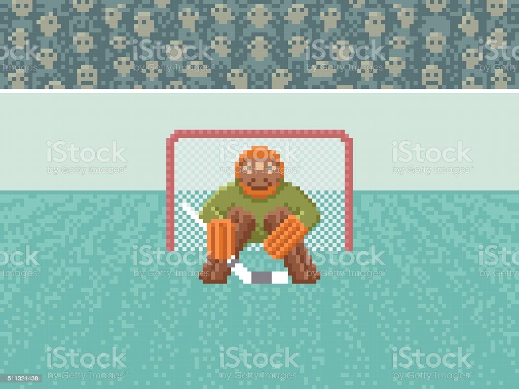 Gardien De But De Hockey Sur Sur Glacepixel Art Illustration