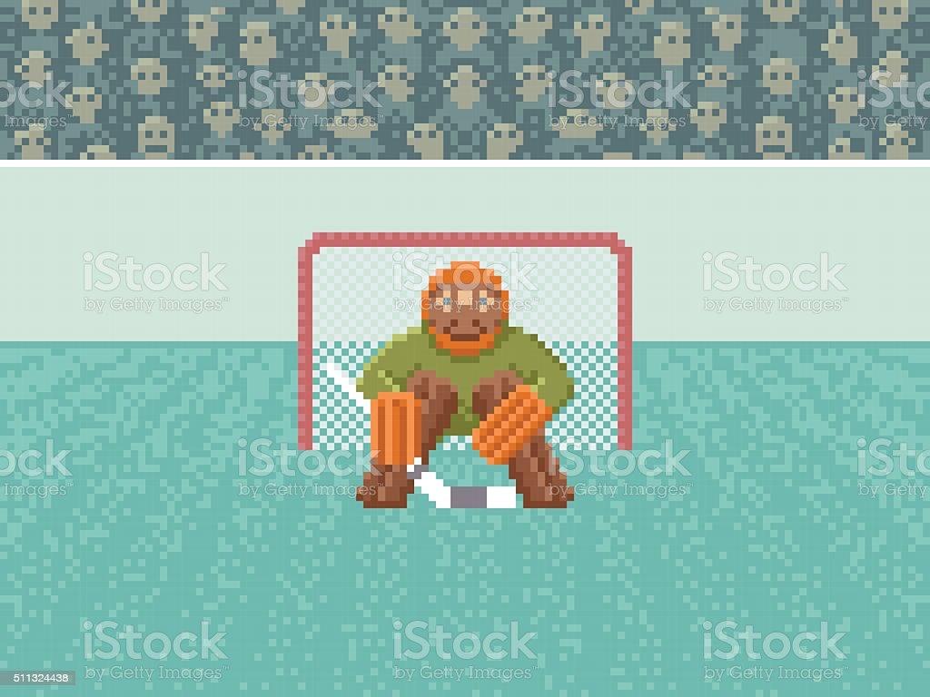 Ice Hockey Goalkeeper - Pixel Art Illustration vector art illustration