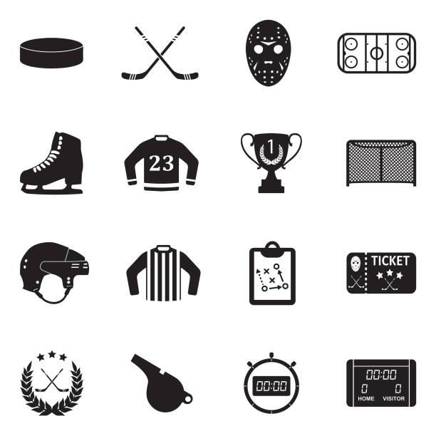ilustrações, clipart, desenhos animados e ícones de ícones de hóquei no gelo. projeto liso preto. ilustração em vetor. - hóquei