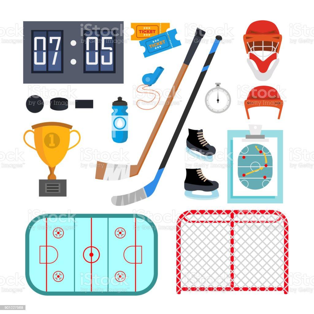Eishockey-Icons Set Vector. Eishockey-Symbole und Zubehör. Flache Cartoon Illustration isoliert – Vektorgrafik