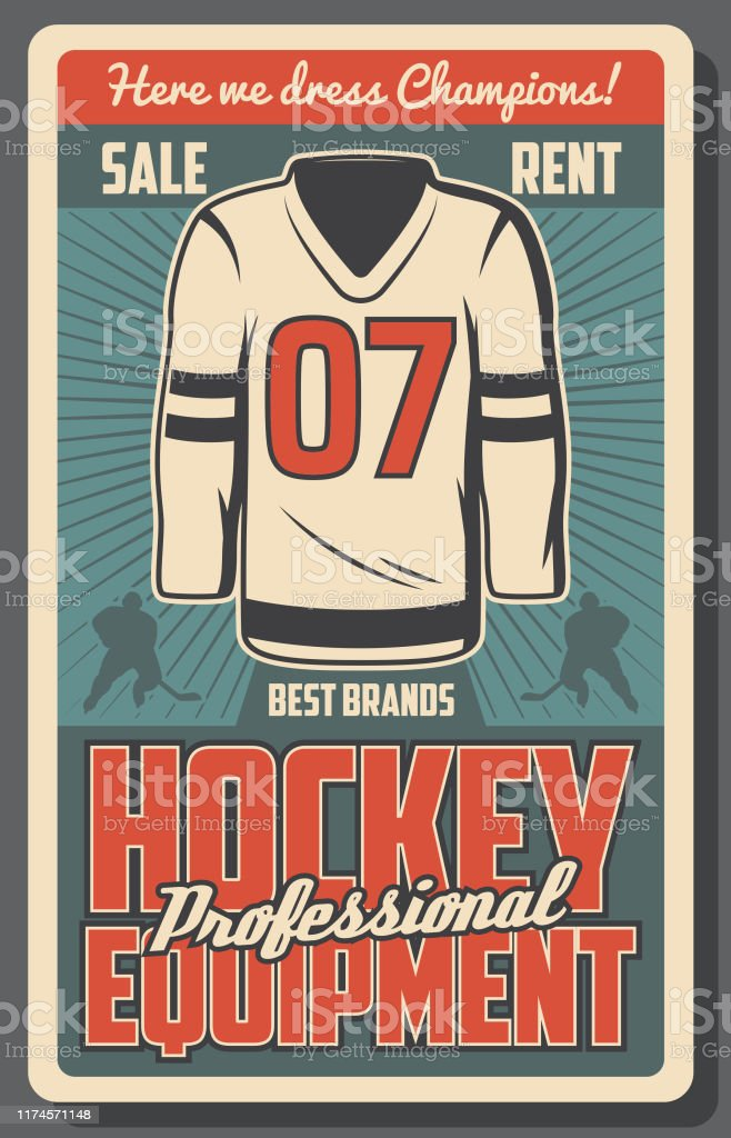 Ice hockey sport game equipments retro vector poster with team...
