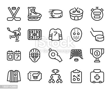 istock Ice Hockey - Line Icons 1303140985