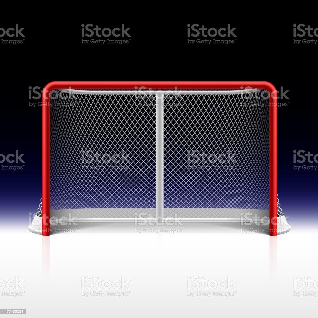 Ice hockey net, goal on black vector art illustration