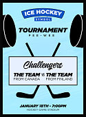 Ice Hockey NHL Playoff Party Template for Promo Flyer or Poster Template on Blue Ice Background