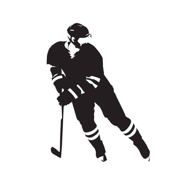 ilustrações, clipart, desenhos animados e ícones de jogador de hóquei no gelo, silhueta de vetor abstrato - hóquei