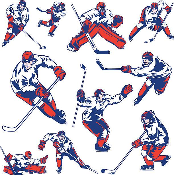 ilustrações, clipart, desenhos animados e ícones de conjunto jogador de hóquei no gelo - hóquei