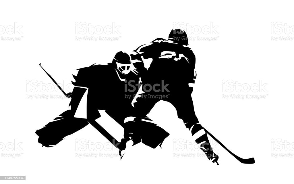 Ice Hockey Player Shoots Puck Goalie Makes Save Abstract Isolated