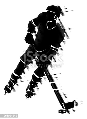 An ice hockey player silhouette sports illustration concept