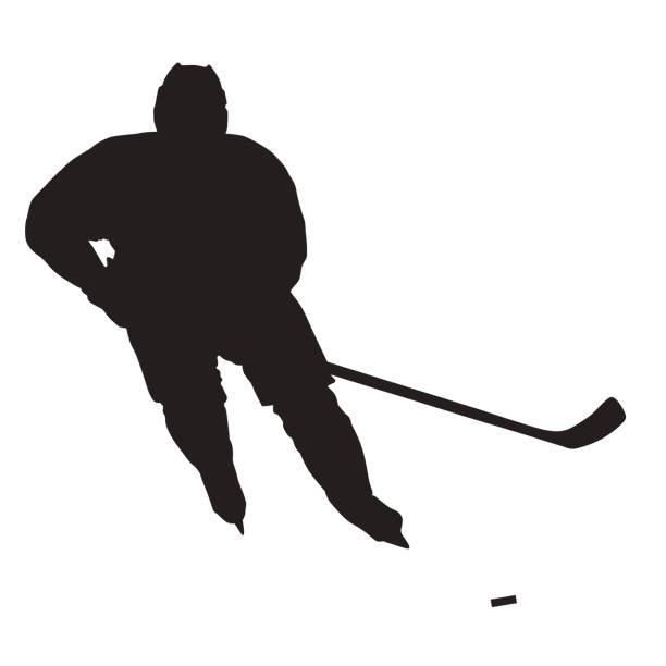 ilustrações, clipart, desenhos animados e ícones de silhueta do vetor do jogador do hóquei de gelo, vista dianteira - hóquei