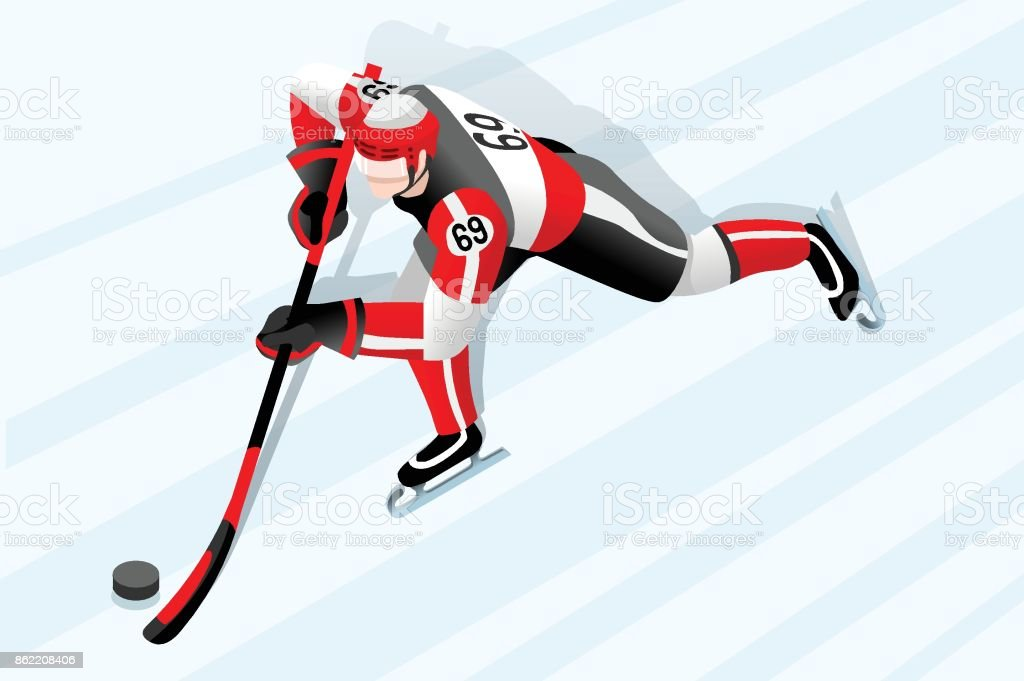 Ice hockey player athlete winter sport man vector 3D isometric icon.