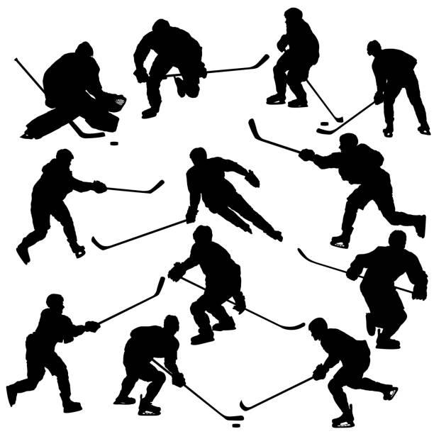 ilustrações, clipart, desenhos animados e ícones de conjunto de silhuetas de jogadores de hóquei no gelo - hóquei