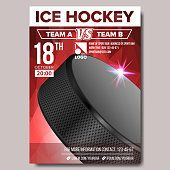 Ice Hockey Poster Vector. Banner Advertising. A4 Size. Sport Event Announcement. Winter Game, League Design. Championship Illustration