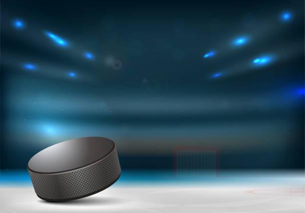 illustrations, cliparts, dessins animés et icônes de rondelle de hockey sur glace dans l'arène de hockey - hockey