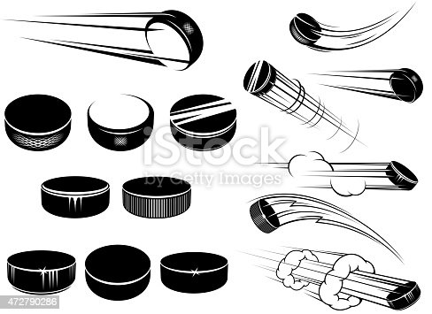 Ice ockey pucks set in cartoon style with motion trails and clouds isolated on white for sports design
