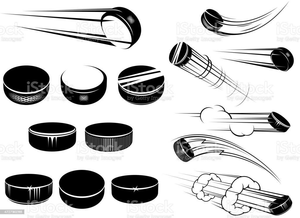 Ice hockey pucks set vector art illustration