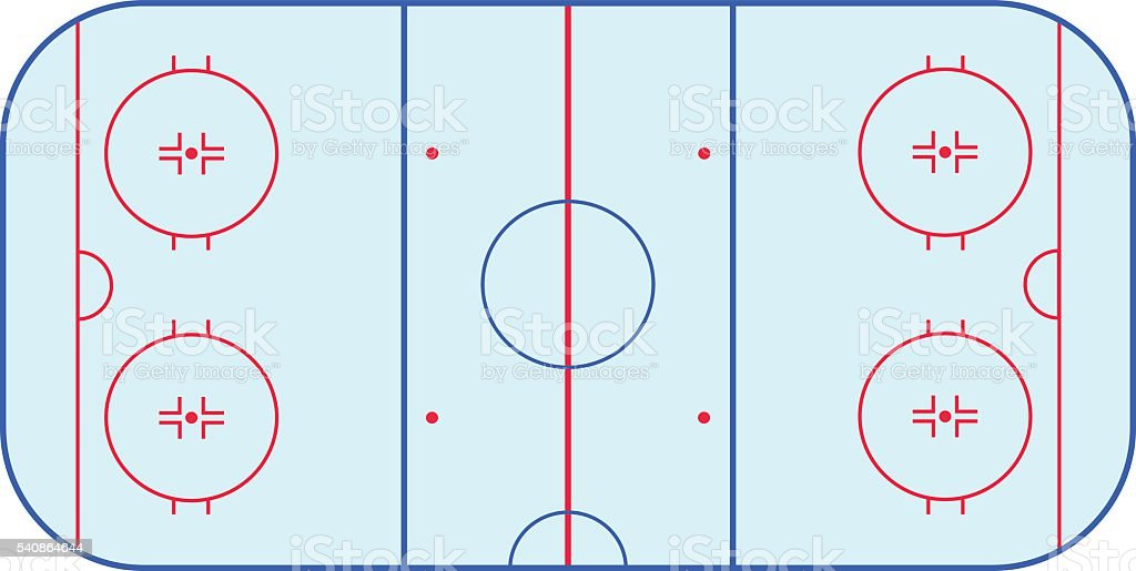 Ice hockey rink field playing infographics, flat, app - Illustration vectorielle