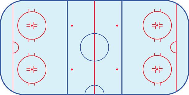 ilustrações, clipart, desenhos animados e ícones de ice hockey rink field playing infographics, flat, app - hóquei