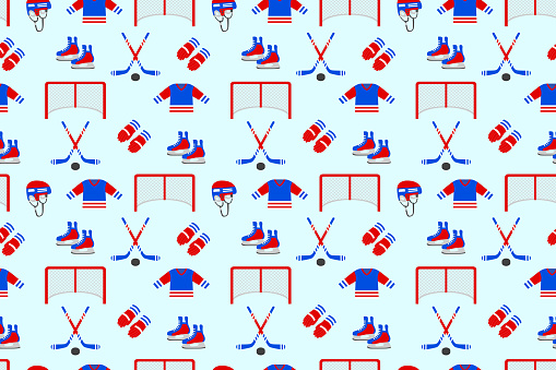 Ice hockey samless pattern. Vector background. Men's ice hockey repeated texture. Wallpaper for winter sports designs, clothes prints. Puck, stick, skates, helmet, uniform, gloves, gate. Blue and red
