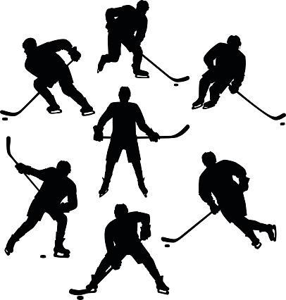 Ice Hockey Seven Silhouettes Set