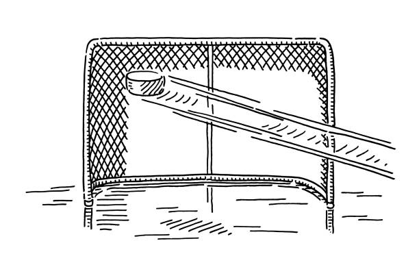 Ice Hockey Shot At Goal Drawing Hand-drawn vector drawing of a Ice Hockey Shot At Goal. Black-and-White sketch on a transparent background (.eps-file). Included files are EPS (v10) and Hi-Res JPG. winter sport stock illustrations