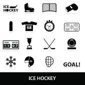 ice hockey sport black icons set eps10