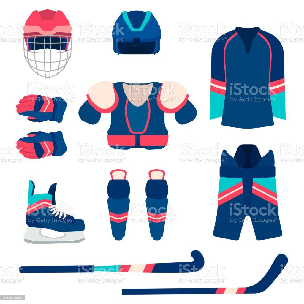 Ilustración de Conjunto De Equipo De Deporte Del Hockey Sobre Hielo ...