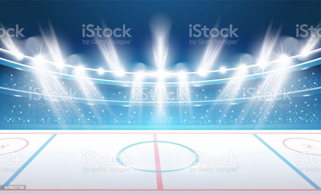 Ice Hockey Stadium with Spotlights. vector art illustration