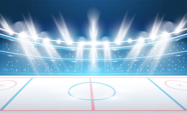 ilustraciones, imágenes clip art, dibujos animados e iconos de stock de estadio de hockey sobre hielo con focos. - hockey