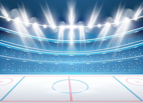 Ice Hockey Stadium with Spotlights.