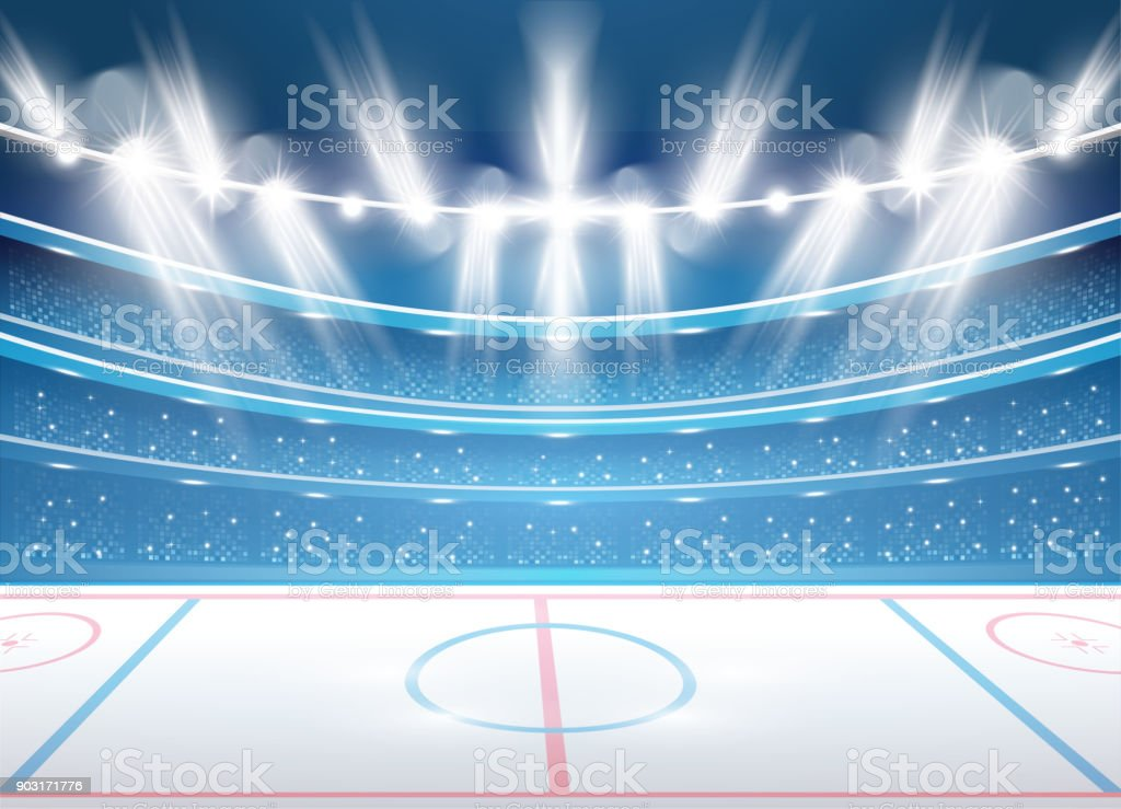 Ice Hockey Stadium with Spotlights. vector art illustration