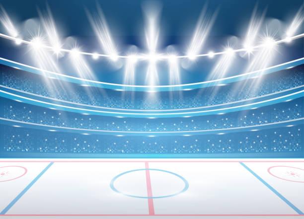 ilustrações, clipart, desenhos animados e ícones de estádio de hóquei no gelo com holofotes. - hóquei