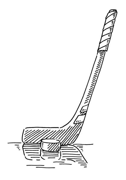 Ice Hockey Stick And Puck Drawing Hand-drawn vector drawing of an Ice Hockey Stick And Puck. Black-and-White sketch on a transparent background (.eps-file). Included files are EPS (v10) and Hi-Res JPG. winter sport stock illustrations