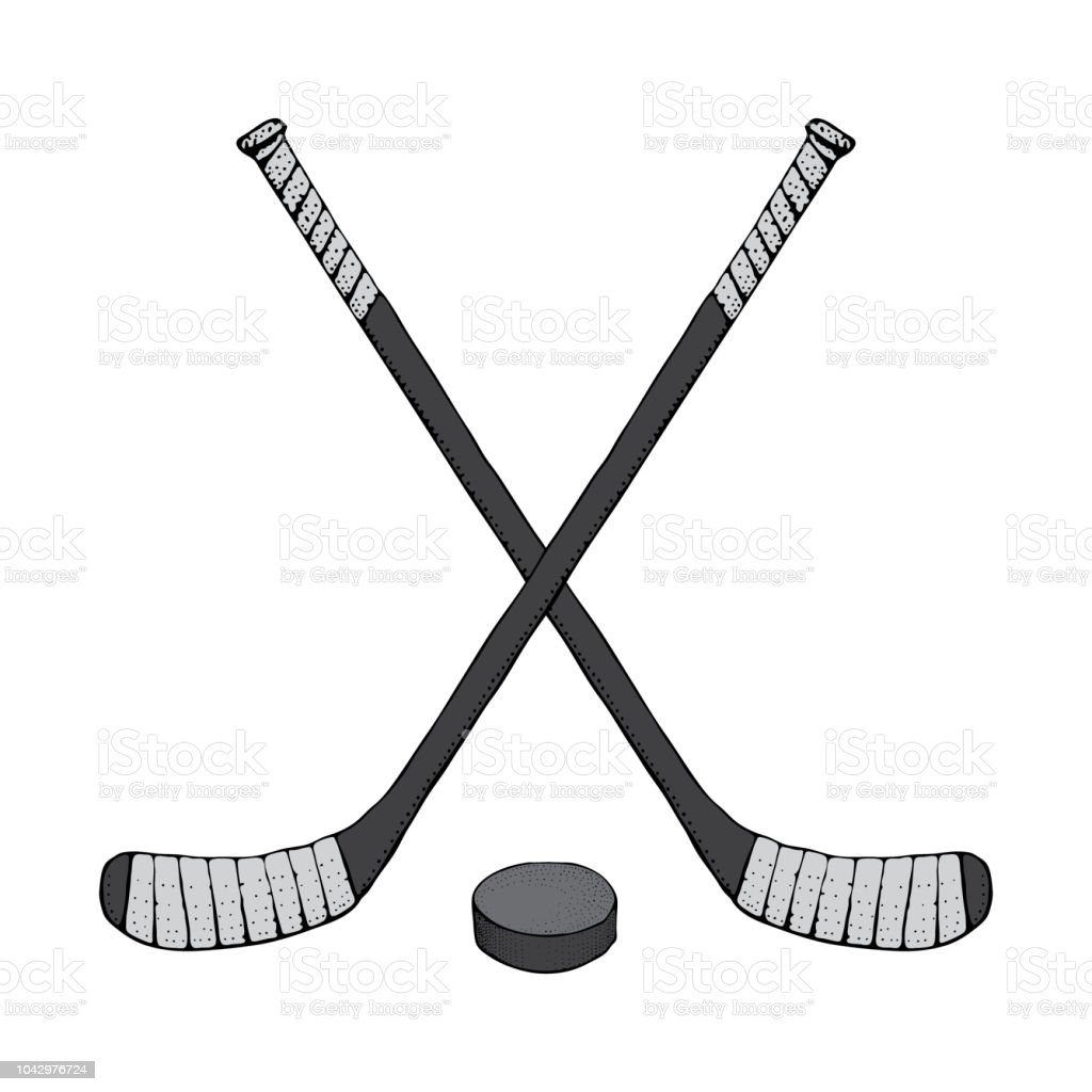 Ice Hockey Stick With Puck Sports Vector Illustration Isolated On