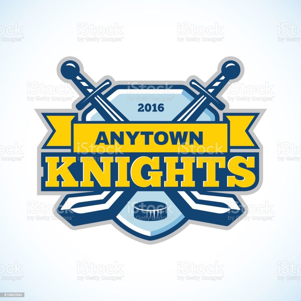 Ice Hockey Sticks And Puck Winter Sport Knights Team Shield Ribbon Template Royalty Free