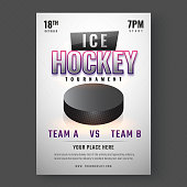 Ice Hockey Tournament poster or template design on abstract gray background. Match between Team A and Team B with venue details.
